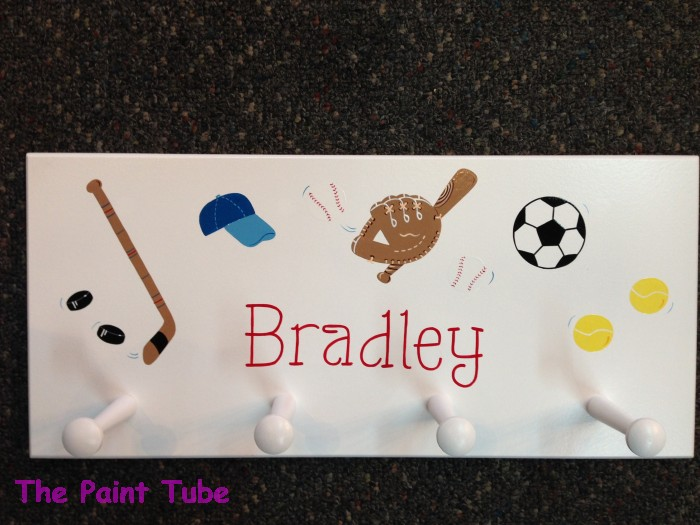 Wall rack with pegs the paint tube custom baby gifts painted bradley sports design wall rack with pegs negle Image collections